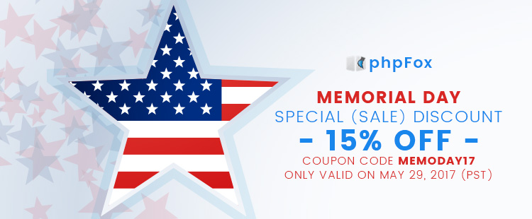 Get 15% OFF on Memorial Day